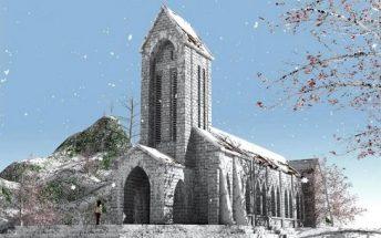 Nhà thờ cổ Sapa mùa hoa Đào